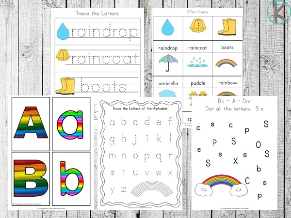 rainbow printables for toddlers, preschoolers and kindergartners to work on letter recognition, upper and lwoercase letters, spring key words, and more