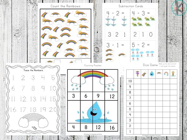 tons of free printables to help kids practice visual discrimination, counting, skip ounting, addition, graphing and more with rainbow worksheets