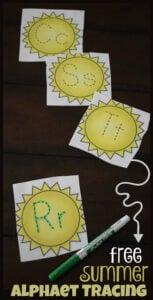 summer alphabet tracing cards