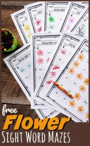 FREE Flower Sight Word Maze - help pre k, kindergarten, and first grade students practice key sight words to improve reading readiness and fluency while having fun with a no prep educational activity for spring or summer. Fun kindergarten worksheets for april, may, and june with kindergartners.