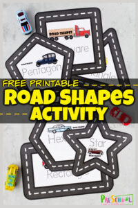 FREE Printable Road Shape Mats - Shapes Activity for Preschoolers
