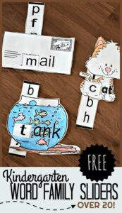Kindergarten word famiy printable to slide and read