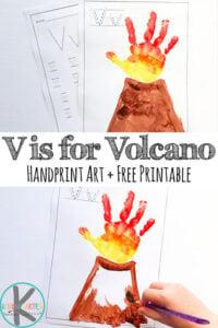 Letter-V-Worksheets-and-Volcano-Hand-Art