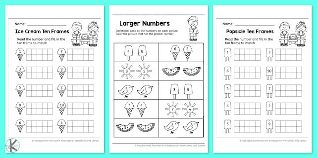summer kindergarten worksheets to practice math. Black Bedroom Furniture Sets. Home Design Ideas