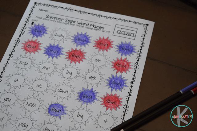 Free-Summer-Kindergarten-Sight-Words-Mazes