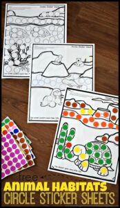 free printable animal habitat worksheets to complete with circle stickers