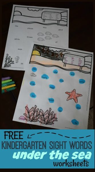 FREE Kindergarten Sight Words Under the Sea Worksheets - this free printable sight words worksheets is such a fun way preschool, kindergartners, and first grade kids to practice reading sight words. These are perfect for summer learning, extra practice, literacy centers, and more #kindergarten #sightwords #kindergartensightwords #kindergarten