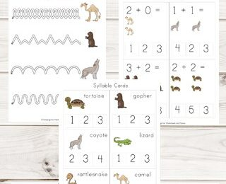 FREE Desert Worksheets - kids will have fun learning about desert animals with these free printables that help prek and kindergarten age kids learn math and literacy skills like counitng, addition, alphabet letters, key vocabulary, and more #desertforkids #kindergartenworksheets