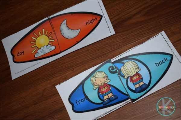 Practice matching opposites with this fun summer themed surfboard puzzles