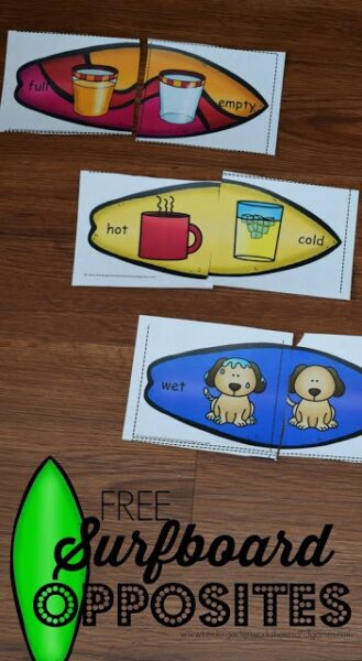 Kids are going to have so much practicing identifying opposites for Kindergarten with this cute opposites puzzle printable pack. In this opposites activity children will match both parts of the surfboards for a summer theme literacy activity. This opposites for kids activity is fun for pre-k, kindergarten, first grade, and 2nd grade students. Simply download pdf file with opposite puzzles printable and you are ready to play and learn!
