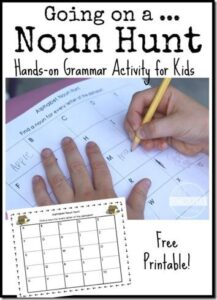 going on a noun hunt printable activity