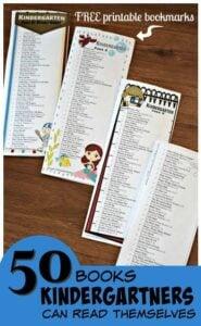 free printable kindergarten book list