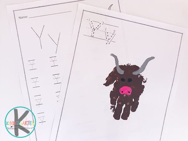 letter y worksheets and letter y craft for y is for yak