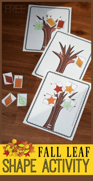This fun fall theme shape sorting mat is a fun way for children work on shape recognition with a fall activity for kindergarten, toddler, preschool, and pre-kstudents. Thisshape activity is a great way to practice identifying shapes. In this leaf activity there is a printable leaf tree template for each shape and then various redy, yellow, orange, green, and brown shapes of the same color. Children will sort the leaves so they are on the correct tree. This shape activity for kids is such a fun, fall math that is engaging, fun and FREE!