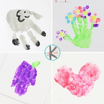 Alphabet Crafts for each letter from a to z - E is for elepehant, F is for flower, g is for grape, h is for heart hand print crafts for kids
