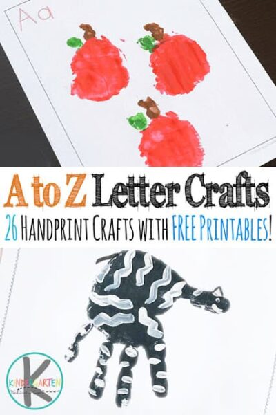 A to Z Alphabet Crafts - 26 super cute, step-by-step, alphabet handprint crafts for toddler, preschool, kindergarten, and first grade kids. Each also includes FREE alphabet worksheets for the hand art and to practice forming uppercase and lowercase letters. Perfect for letter of the week or to make a cute alphabet keepsake book. #alphabet  #preschool #craftsforkids