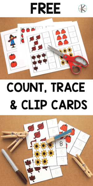 Do you need a hands-on math activity to help students practice their counting? Take a look at our FREE Fall count and clip cards to practice counting to 10. This fall math activity for toddler, preschool, pre-k, and kindergarten students is great for helping students not only count to 10, but number tracing too. Simply print fall printables and you are ready to play and learn with this fall activity for preschoolers.