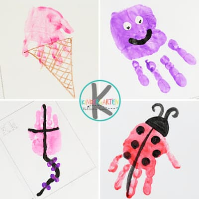 these Hand Print Craft ideas are a fun way to teach preschoolers and kindergartners their letters. Include ice cream, jelly fish, kite and ladybug handprint art projects