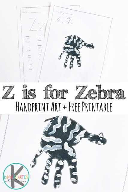 If you and your toddler, preschool, pre-k, or kindergarten age child are learning about the letter Z, you will love this super cute letter z craft for kids! This week we are sharing a Zebra handprint craft! This zebra art project makes a precious keepsake and a fun way to learn the letter Z. You can use it with a letter of the week program, in a animal or zoo theme, or as an alphabet craft. Don't forget to download the pdf file and print the free z printable to go along with it for more letter Z practice.