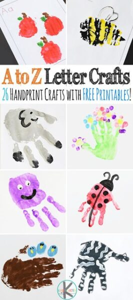 A to Z Alphabet handprint Crafts - 26 super cute, step-by-step, handprint crafts for toddler, preschool, kindergarten, and first grade kids. Each also includes FREE alphabet worksheets for the hand art and to practice forming uppercase and lowercase letters. Perfect for letter of the week or to make a cute alphabet keepsake book. #alphabet #handprint #craftsforkids