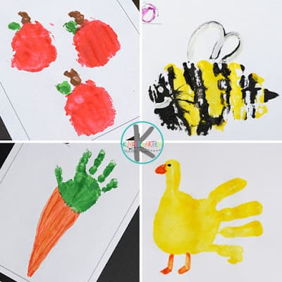 cute Alphabet Handprint crafts for lettters a,b,c,d to make apples, bees, carrots, and duck