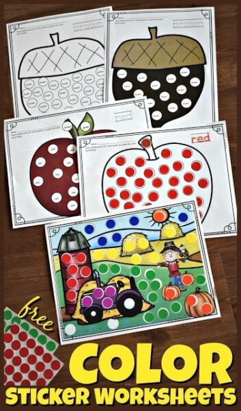Color dot sticker worksheets for preschool,, prek, and kindergaarten age kids