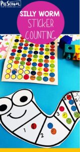 silly worm counting sticker worksheets