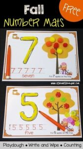 fall number mats with playdough