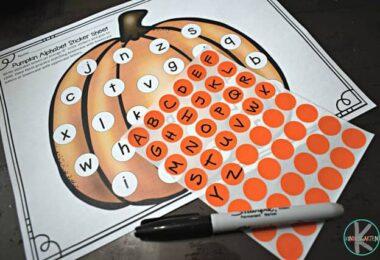 FREE Fall Alphabet Sticker Worksheets