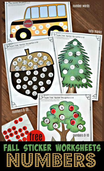 Kids love using stickers! These free printable Sticker Worksheets are such a fun way for preschool, pre-k, kindergarten, and first grade students to practice number recognition, number words, counting tally marks, and more with number sense worksheets! These fall worksheets are a great way o make working on fall math fun with stickers! Simply printfall math worksheets and you are ready to play and learn with afall activity for kindergarten.