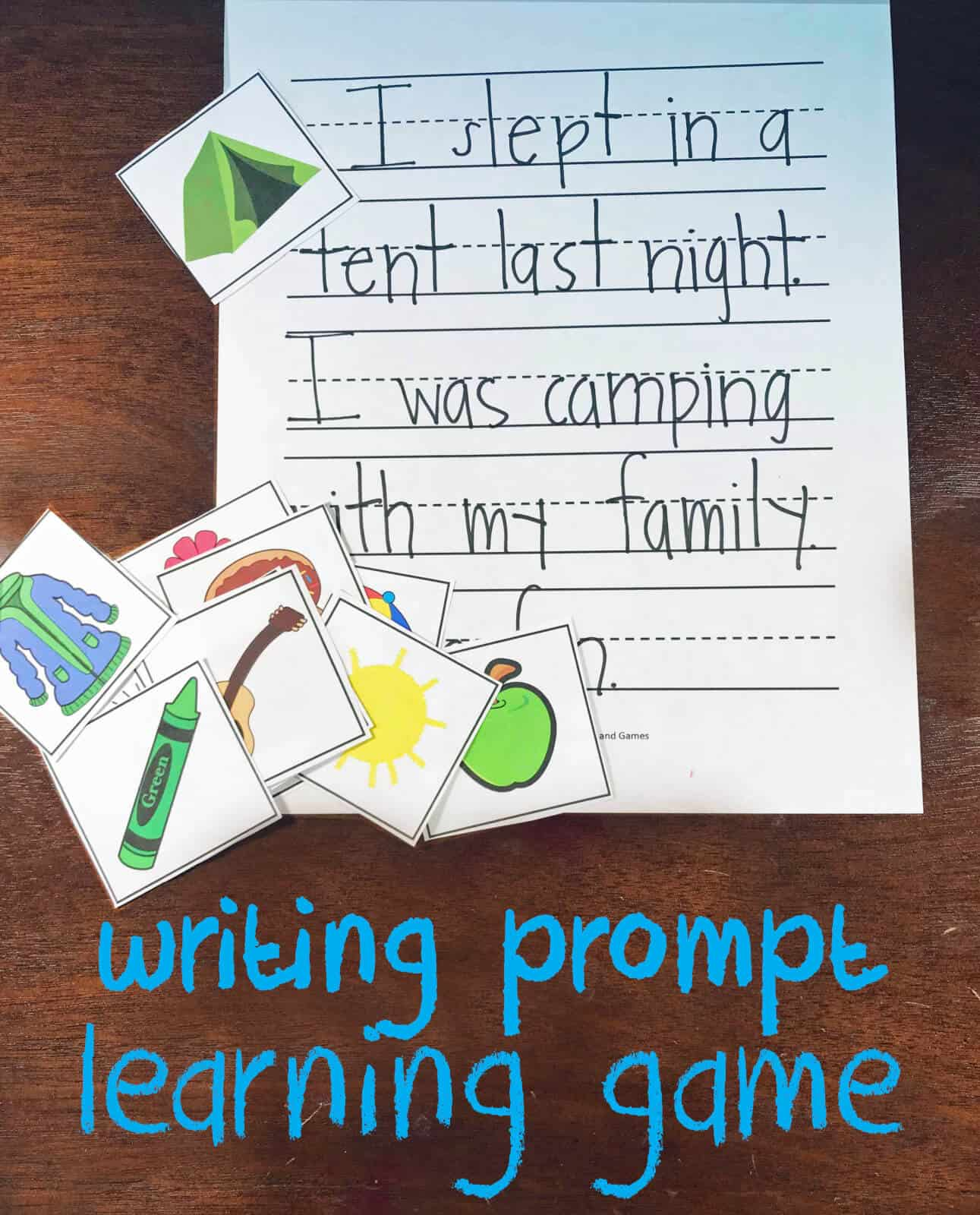 FREE Picture Writing Prompt Learning Game - kids will have fun practicing writing with this creative writing prompt turned game for kindergarten, first grade, 2nd grade 3rd grade.