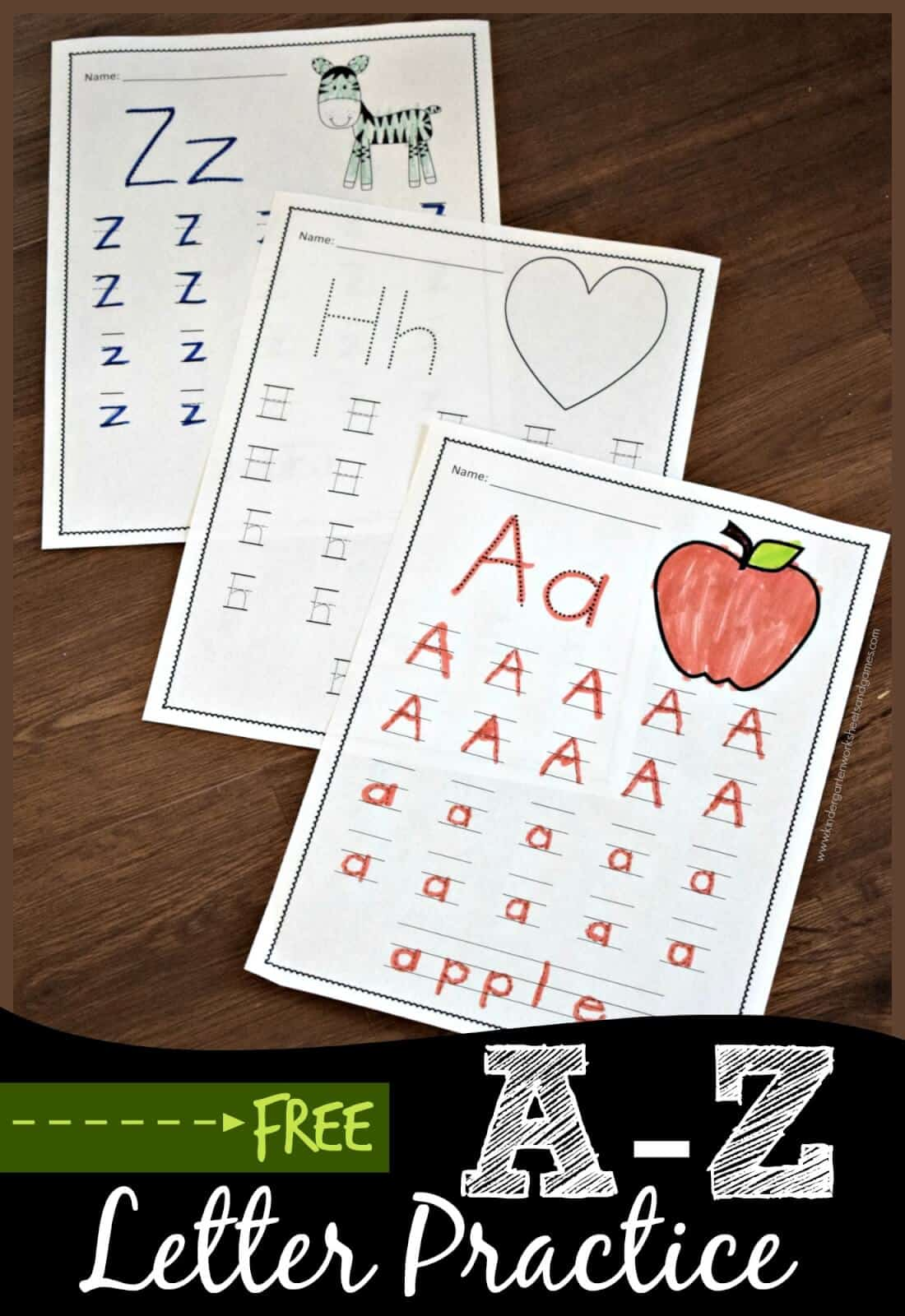 free a to z letter practice kindergarten worksheets and games. Black Bedroom Furniture Sets. Home Design Ideas
