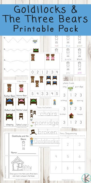 FREE Goldilocks and The Three Bears Worksheets - help kids practice alphabet, math, counting, addition, colors, pre writing, literacy and more with a fun classic fairy tale for toddler preschool kindergarten and first grade #freeworksheets #goldilocks #kindergartenworksheets