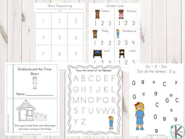 Goldilocks-and-the-Three-Bears-alphabet-Worksheets
