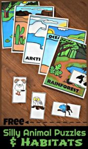 FREE Silly Animal Puzzles & Habitats Activity - this free printable science activity is such a cute, free printable that allows kids to create silly animals, think about what that would meal for survival, and sort them into their appropriate habitats. Such a fun kids activity and homeschool, educational activity for toddler, preschool, kindergarten, first grade, 2nd grade. #habitats #kindergarten #firstgrade