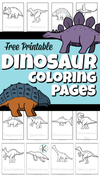 free printable dinosaur coloring pages including Allosaurus, Ankylosaurs, Brachiosaurus, Ichthyosaurus, Iguanodon, Pterodactyl, Plesiosaurus, Saurolophus, Stegosaurus, Triceratops, Tyrannosaurus Rex (T rex), velociraptor, and groups of dinosaurs.