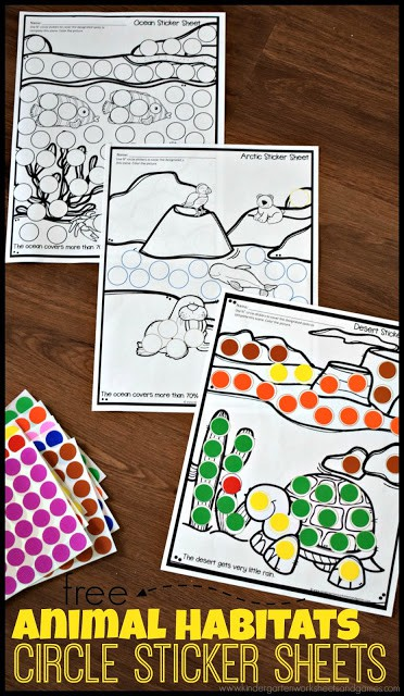 Make learning about animal habitats for kids fun with these free printablehabitat worksheets. These animal habitats kindergarten worksheets are perfect for simple, fun science for toddler, preschool, pre-k, and kindergarten age children. Kids will simply use circle stickers or bingo daubers to fill in the circles to help decorate the scene as they learn about habitats for kids.
