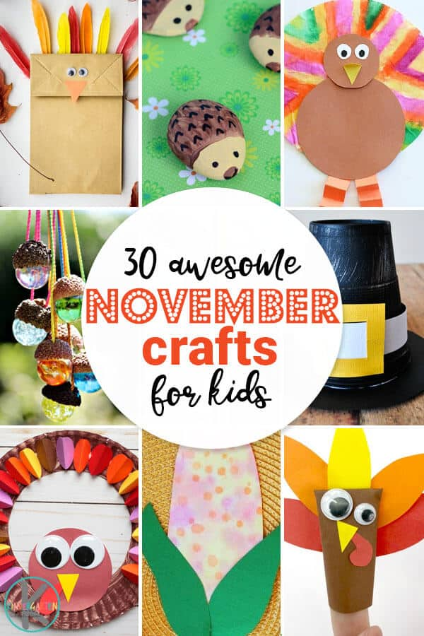 30 November Crafts fro Kids- so many fun, creative, and unique turkey crafts, fall crafts, pilgrim crafts, hedgehog crafts, and more november themes for kids of all.ages. #craftsforkids #november #preschool