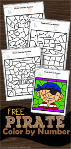 Pirate Color by Number Worksheets