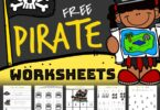 Ahoy there me hearties! Get ready for a swashbuckling time with over 80 pages of  Pirate Worksheets. With so many clever and fun educational activities to practice math and literacy, your little pirates will be excited to lear. These free pirate printables are perfect to use with preschool, pre-k, first grade, and kindergarten age children. Simply download pirate printables pdf file with pirate activities for preschool.