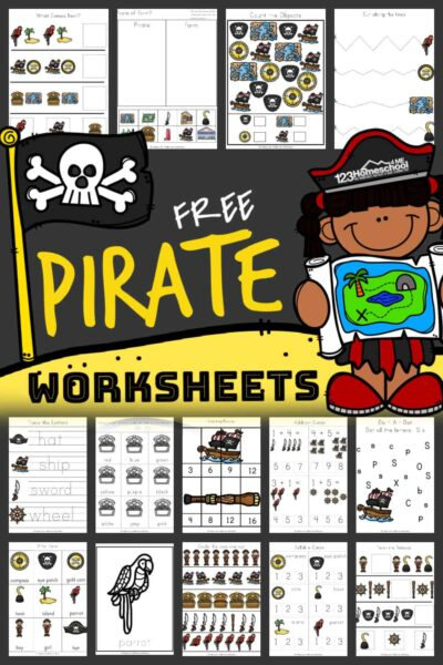 Ahoy there me hearties! Get ready for a swashbuckling time with over 80 pages of Pirate Worksheets. With so many clever and fun educational activities to practice math and literacy, your little pirates will be excited to lear. These free pirate printables are perfect to use with preschool, pre-k, first grade, and kindergarten age children. Simply download pirate printables pdf file withpirate activities for preschool.
