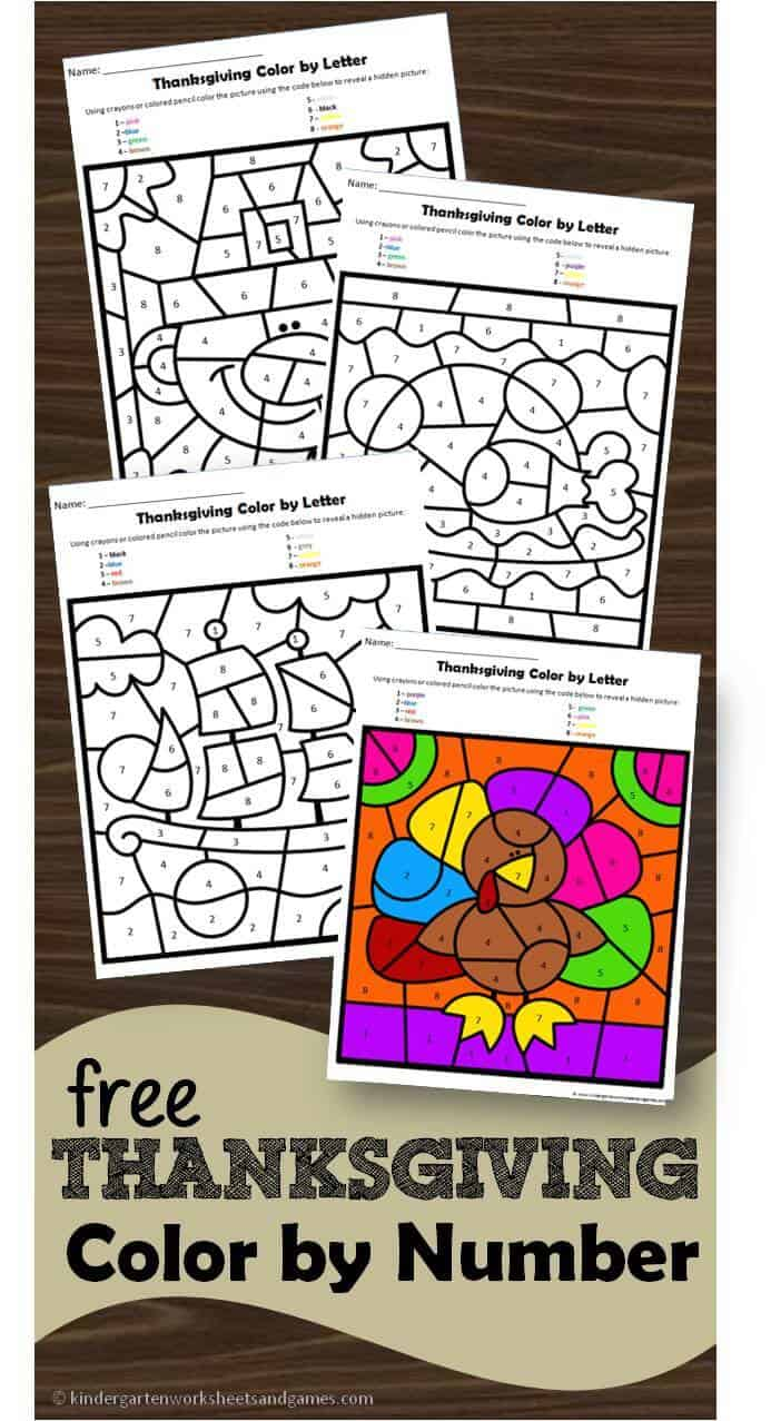 FREE Thanksgiving Color by Number - these free thanskgiving printables are af un way for prek and kindergarten age kids to practice number worksheets #thanksgiving #preschool #kindergarten