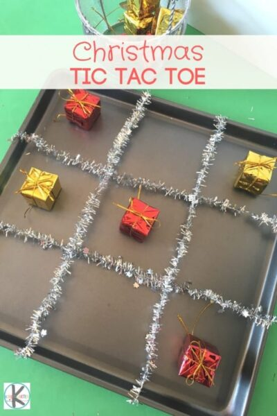Clever Christmas TIC TAC TOE - this super easy to make, Christmas game is lots of fun. What a fun Christmas activity for kids of all ages #christmas #christmasgames #christmasactivity #kidsactivities #preschool #kindergarten #firstgrade