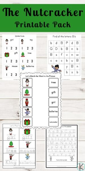 FREE The Nutcracker Printable Pack - these free printable Christmas Nutcracker worksheets make it fun for kids to practice math, alphabet, literacy, and more with a fun theme. #thenutcracker #christmasworksheets #preschoolpack #preschoolworksheets #kindergartenworksheets #printablepacks #freeworksheetsforkids