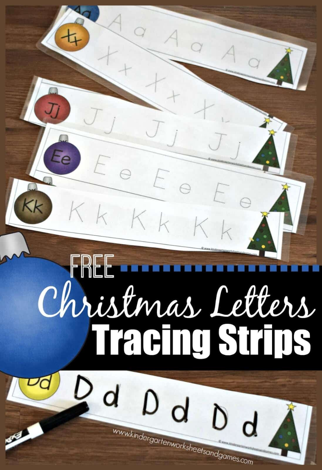 FREE Christmas Letter Tracing Strips - kids will have fun practicing writing uppercase and lowercase alphabet letters with these fun, LOW PREP, and reusable early learning activity. This is better than an alphabet worksheet for toddler, preschool, prek, kindergarten kinders, 1st grade because it is reusable. Great literacy center for December, Christmas. #alphabet #christmasprintables #christmas