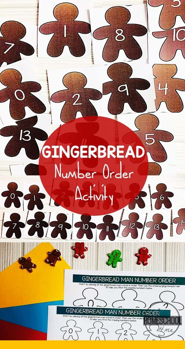 Looking for a fun way to reinforce number order? Download pdf file with free Gingerbread Numbers template to sneak in some Christmas Math with preschool, pre-k, and kindergarten age students. This Christmas Number Order Printable is versatile and can be used in a number of ways including as a Gingerbread Number Line. Kids will love using this Gingerbread Number Order Printable as a fun, Christmas themed number line activity.