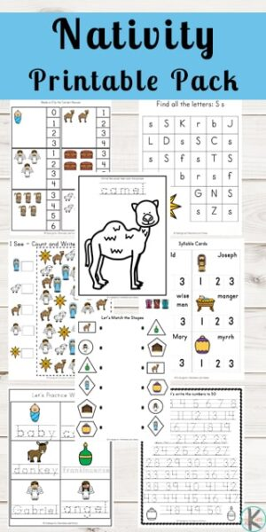 FREE Nativity Printable Pack - kids will have fun practicing math and literacy skill with these free Jesus' birthday worksheets for preschool, kindergarten, first grade, and 2nd grade kids. Include key word,s shapes, counting, letter practice, and so many more. #christmasworksheets #preschool #kindergarten #nativityworkshetes #freeworksheets
