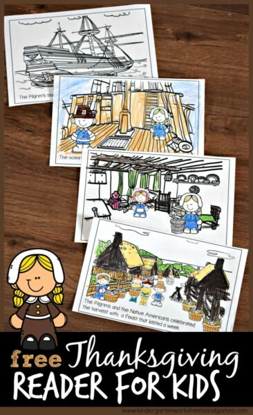 FREE Thanksgiving Reader for Kids - these free printable Thanksgiving emergent readers will help kids learn about the first Thanksgiving with the pilgrims and native Americans. Just color and read.
