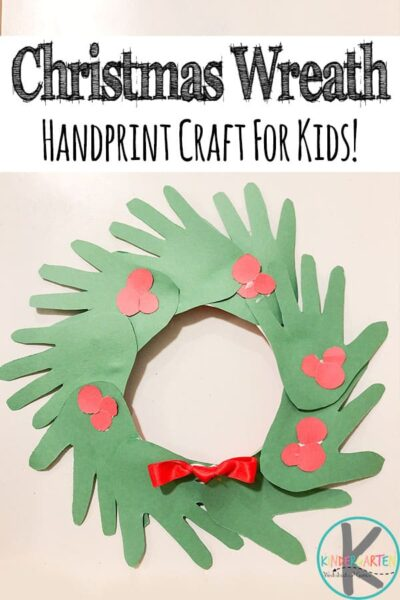 Kids of all ages will have fun making this cute and simple Handprint Christmas Wreath to celebrate the holiday season in December. In just a few simple steps, you'll have a precious handprint Christmas crafts keepsake made out of cut-out handprints of your child! This kindergarten Christmas crafts make a great decoration or kid made gift for parents and grandparents. Use this easy Christmas craft with toddler, preschool, pre-k, and elementary age kids.