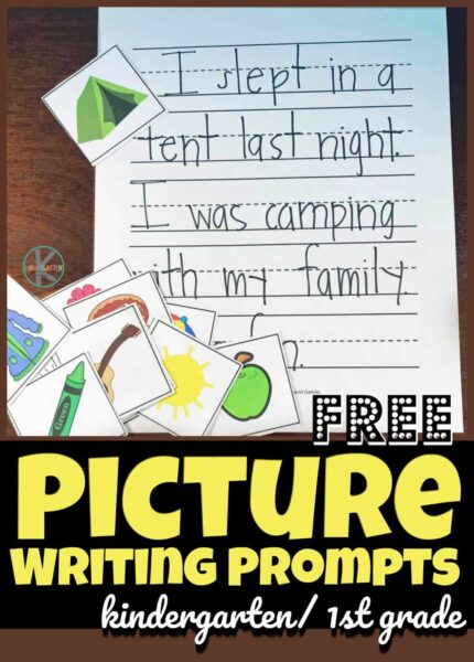 These super cute, free printable picture writing prompts kindergarten are a great way to help children get excited about writing. These picture writing prompts, pre-k, and grade 1 students are sure to make writing fun instead of a chore. Simply download pdf file with the kindergarten writing prompts with pictures and you are ready for this low prep kindergarten writing activity!